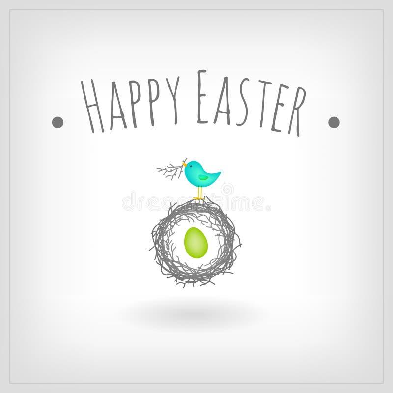 Easter card bird nest. Easter card, bird nest and egg graphic design stock illustration