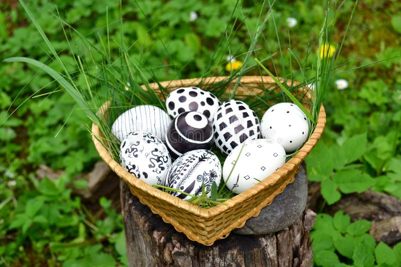 Beautiful Easter Eggs with Black Painted Elements stock photo