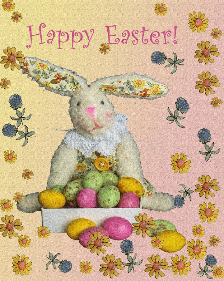 Easter card. Bunny with easter eggs royalty free stock image