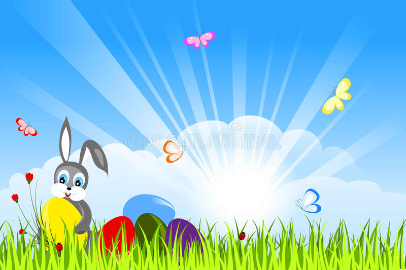 Easter card with bunny stock illustration