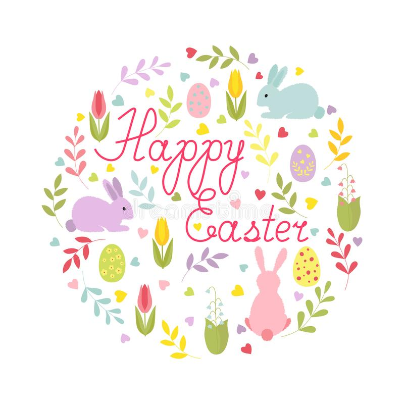 Easter card with cartoon characters and hand-written text in a round composition. Isolated colorful card. stock illustration