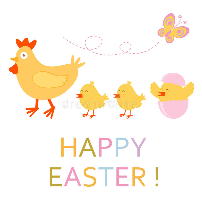 Download Easter Card With Chicken And Chicks Stock Vector - Illustration: 28839224