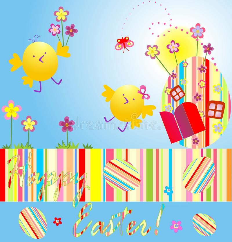 Easter card with chicken royalty free illustration