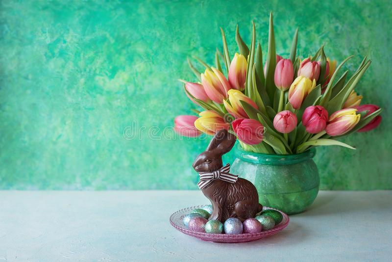 Download Easter Card With Chocolate And Flowers Stock Photo - Image of hamper, background: 112677526