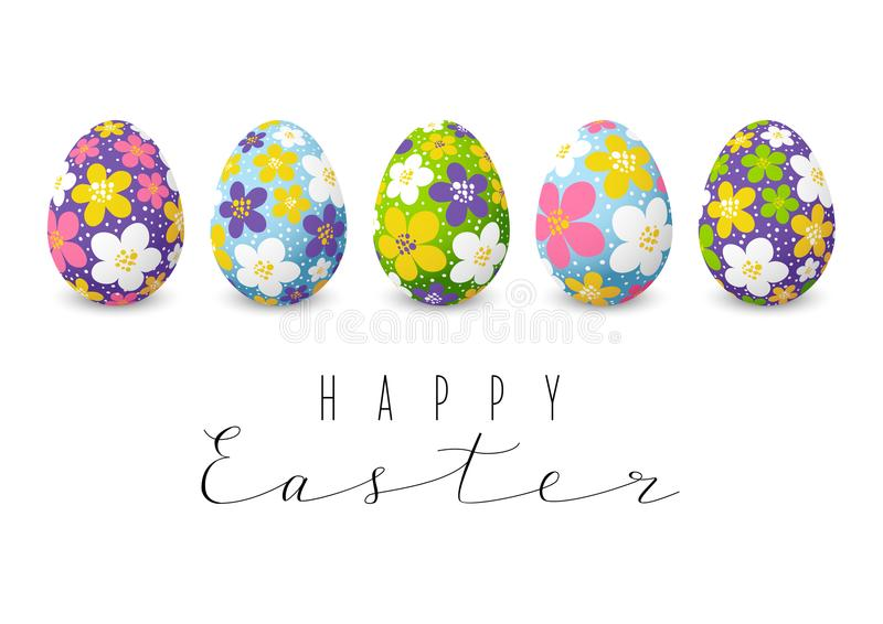 Easter card with color floral eggs royalty free illustration