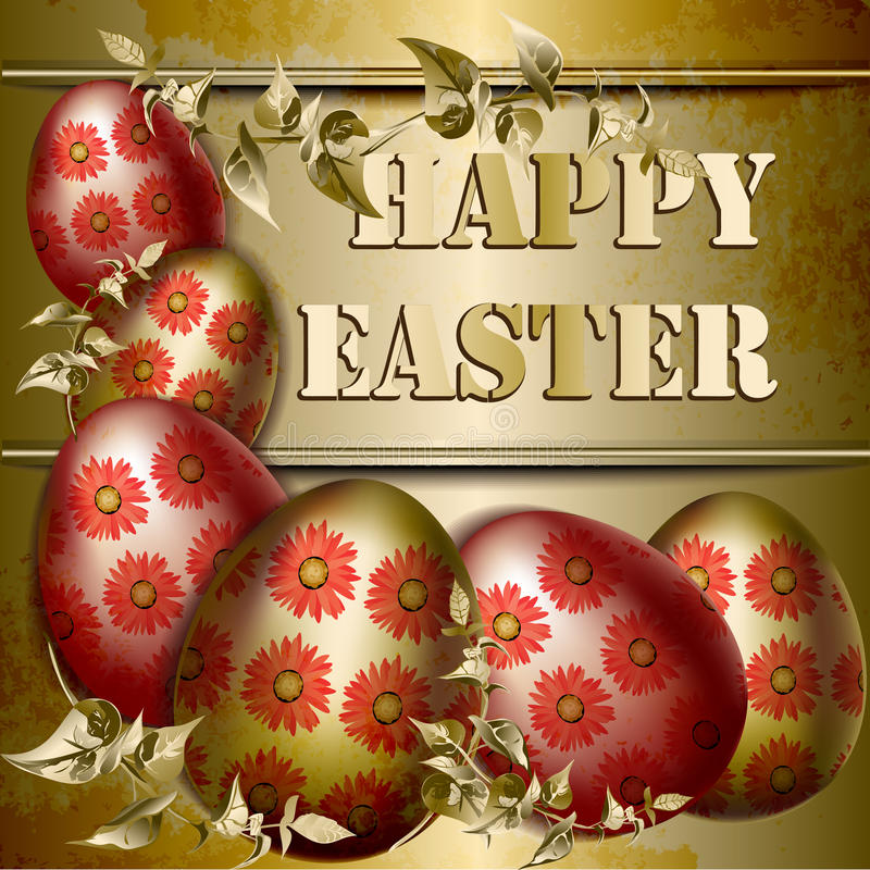 Easter Card with colored Easter eggs on a gold background stock photos