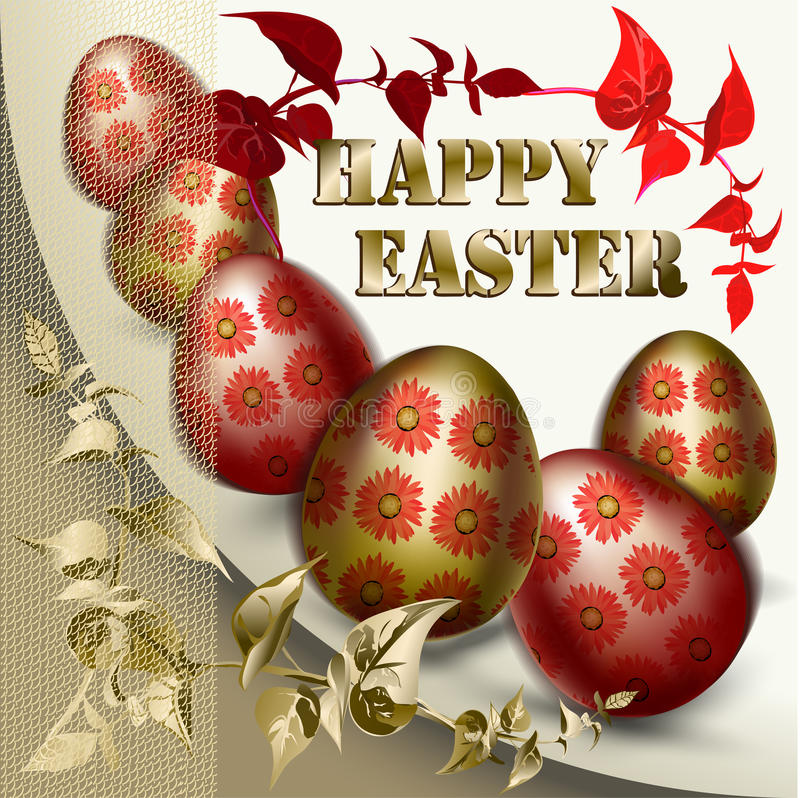 Easter Card with colored Easter eggs stock photos