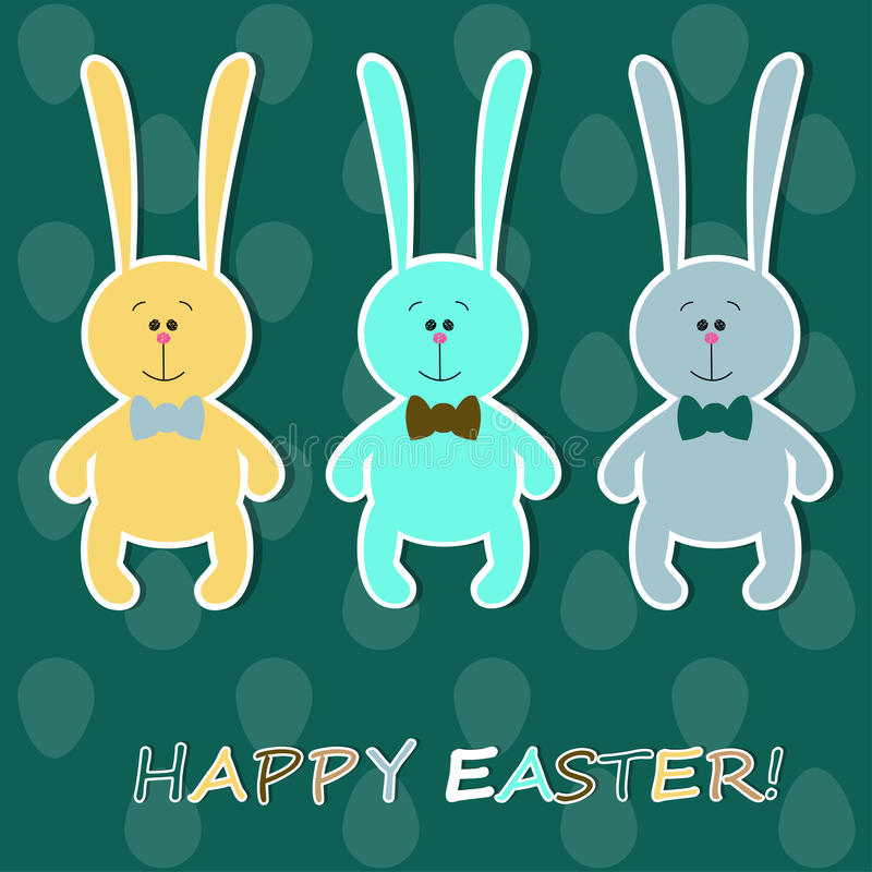 Easter card with colorful rabbits royalty free illustration