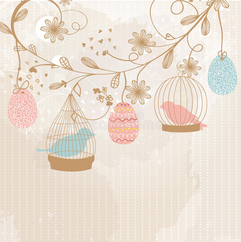 Easter card with cute birds in the cages stock illustration