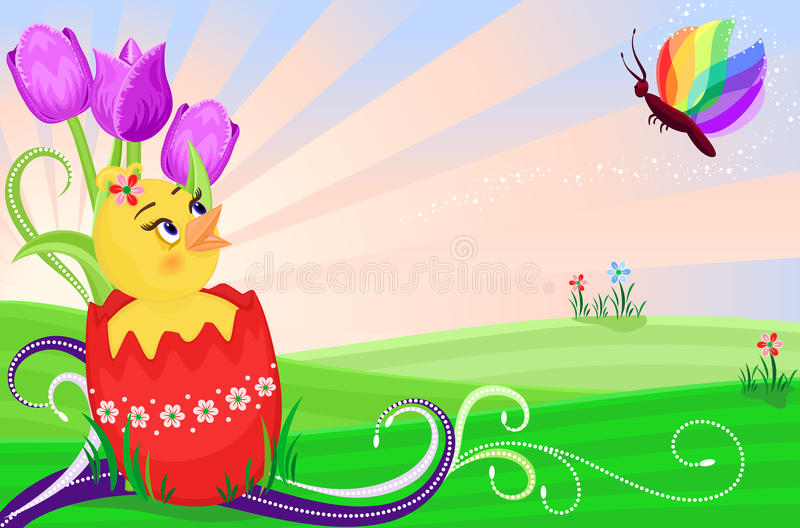 Download Easter Card With Cute Chick Stock Vector - Image: 13427097