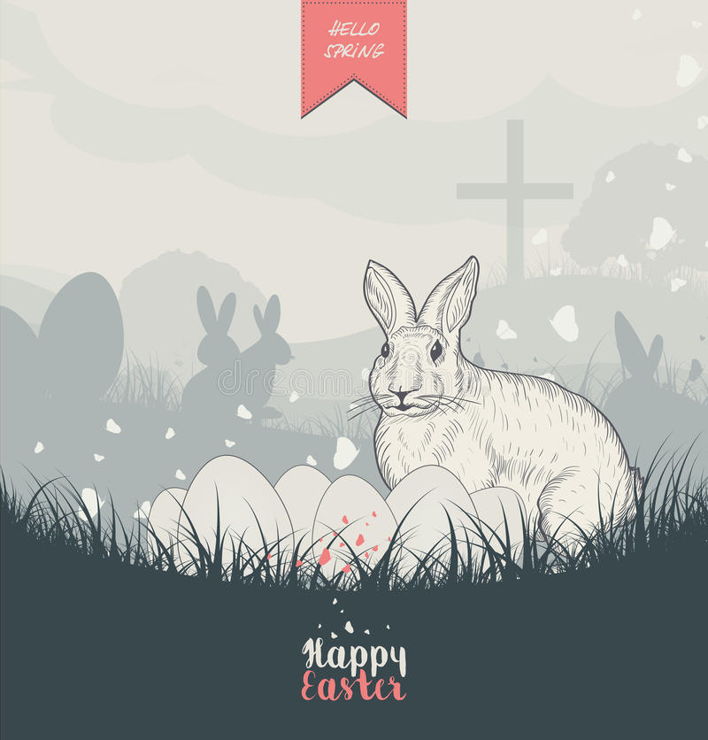 Easter Card With Easter Bunny vector illustration