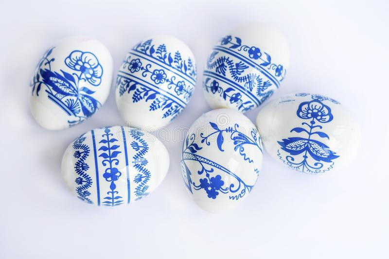 Beautiful Easter Eggs with Blue Painted Flowers royalty free stock photos