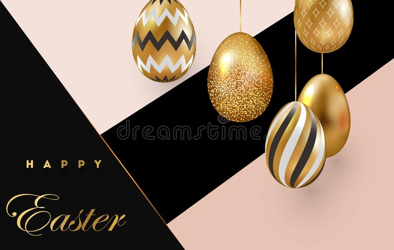 Easter card with gold ornate eggs on a dark light background vector illustration