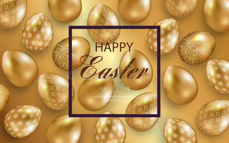 Easter card with gold ornate golden eggs on a light background. Vector .Place for your text. Golden eggs with small floral and royalty free illustration