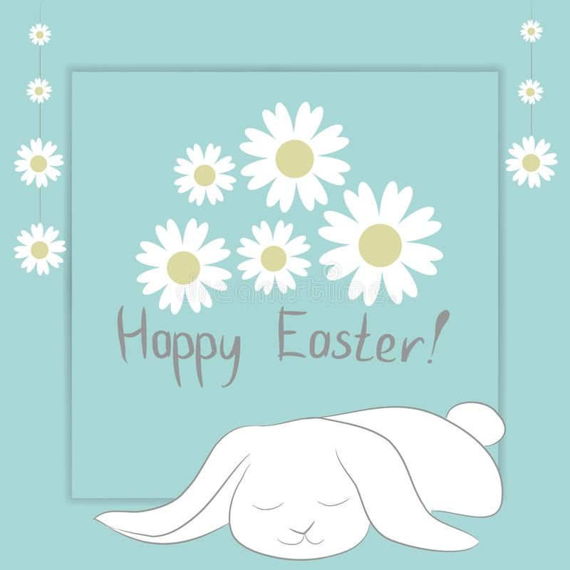 Easter Card with ` Happy Easter` phrase, white sleeping bunny and camomile flowers. vector illustration