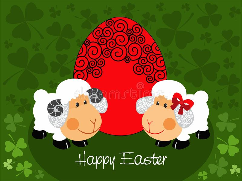 Sheeps and red decorated egg - vector. Easter illustration with sheep, red decorated egg and clover leaf background. The vector version can be scaled to any size stock illustration