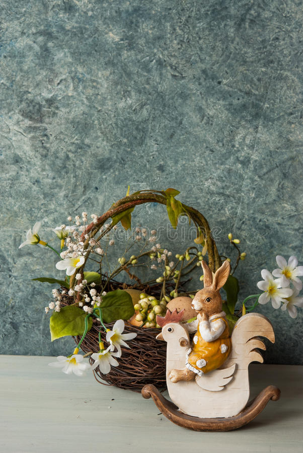 Download Easter Card With Nest And Bunny Stock Image - Image: 89341943