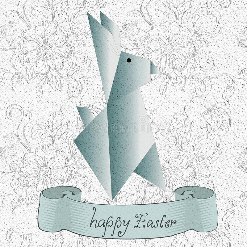 Easter card with origami rabbit vector illustration