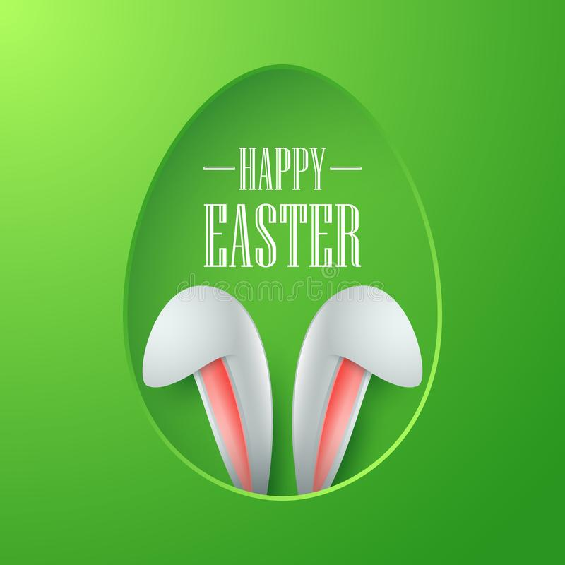 Easter card with paper egg shape frame with bunny ears in egg hole on green background stock illustration