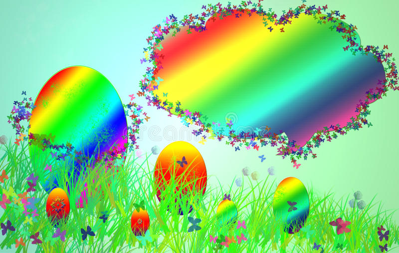 Easter card with a picture of the grass, painted eggs and butterfilies. stock images