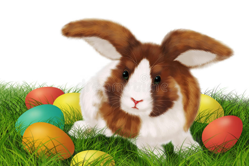 Download Easter card with rabbit stock illustration. Image of small - 18603738