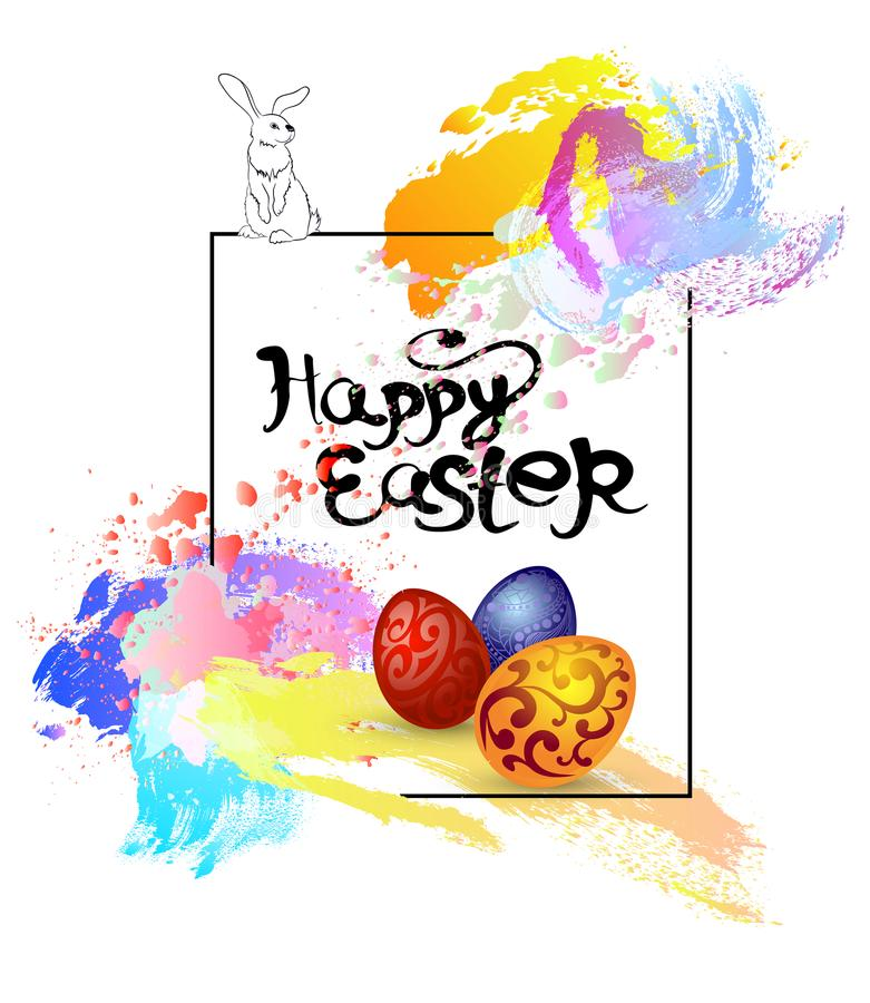 Easter card with a rabbit, with eggs, with spots of paint, stock photo