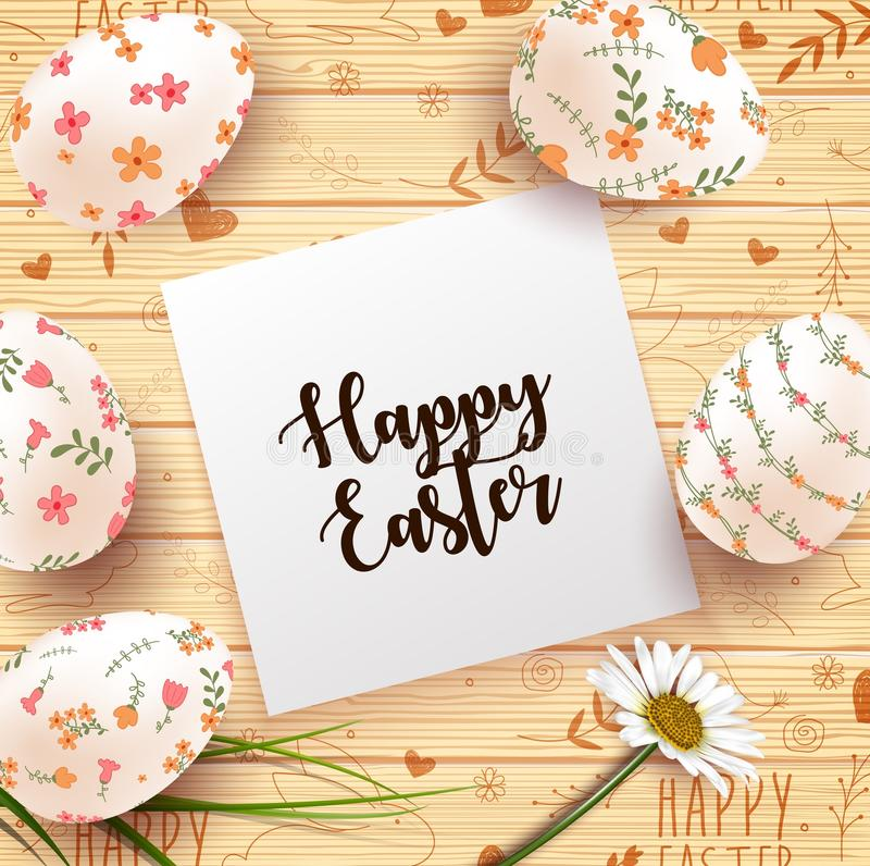 Easter Card with realistic eggs and daisy flower on wood texture background vector illustration