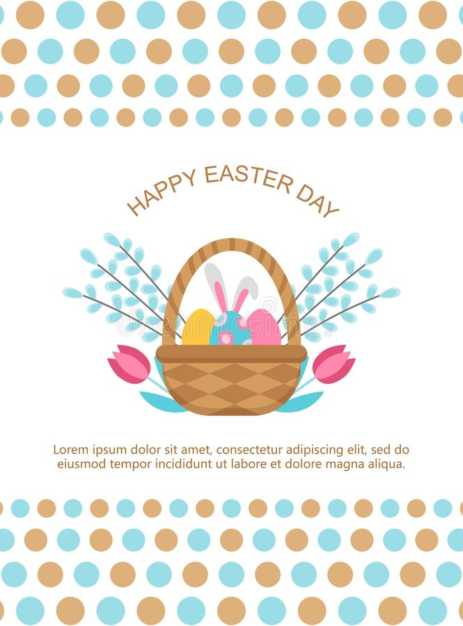 Easter card template with basket and eggs. stock illustration