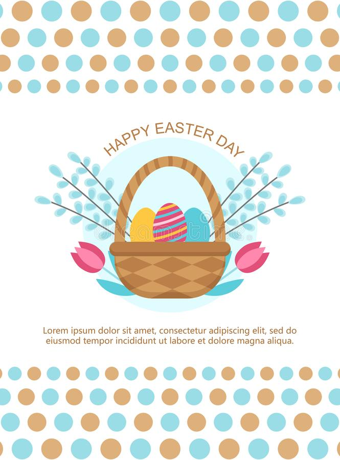 Easter card template with basket and eggs. royalty free illustration
