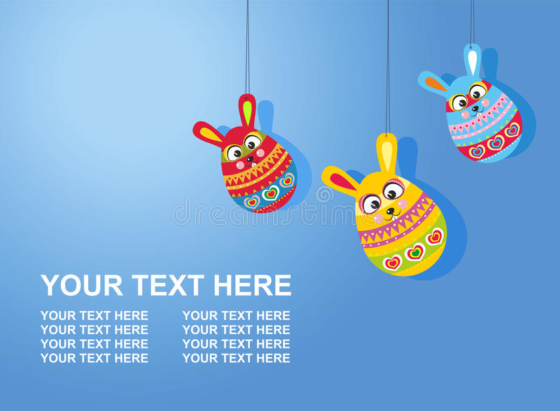 Easter card with text three Easter rabbit eggs on gradient background stock illustration