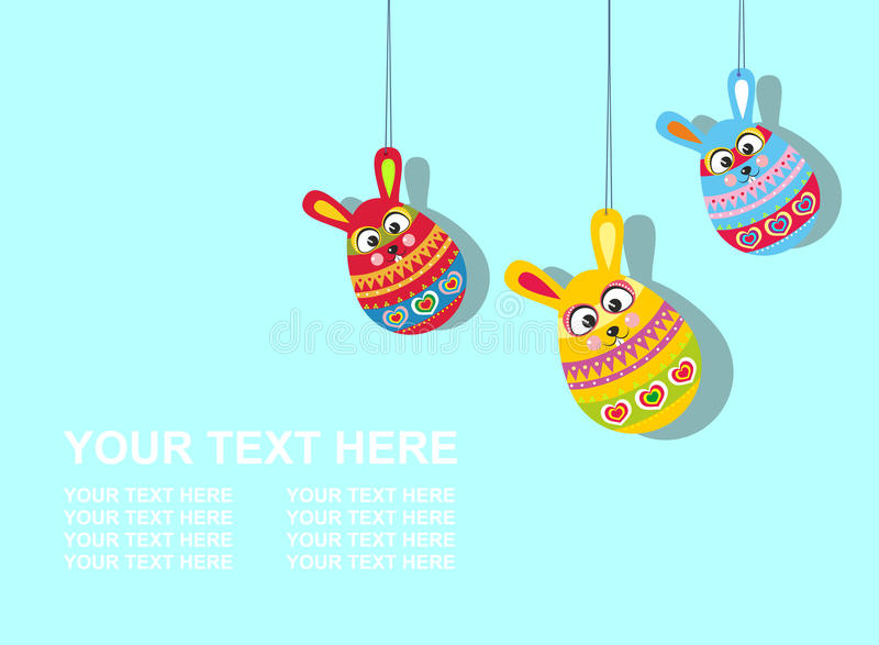 Easter card with text three Easter rabbit eggs royalty free illustration