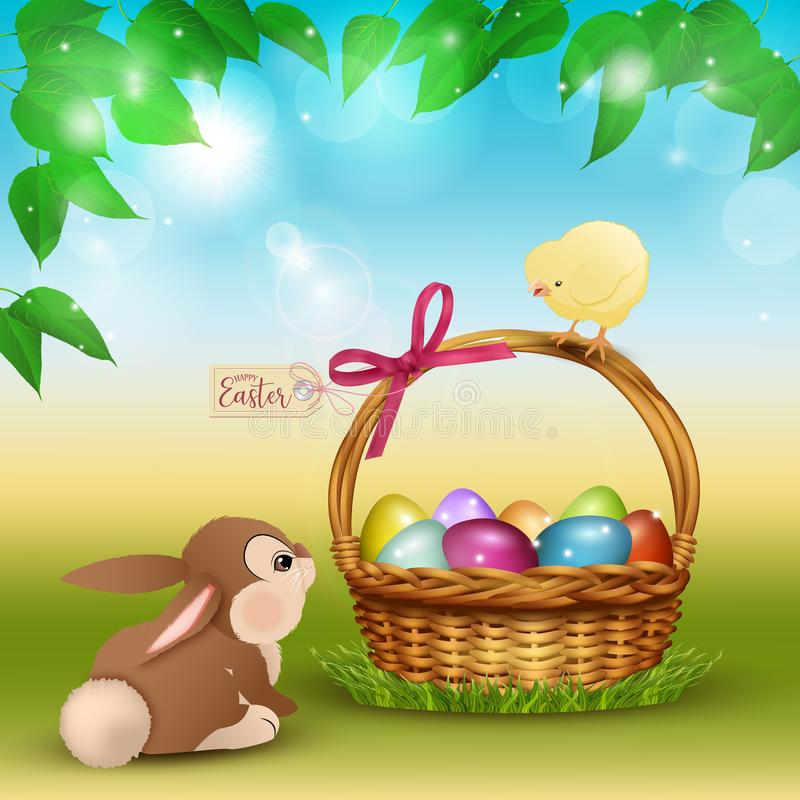 Easter cartoon scene with cute rabbit and chicken stock illustration