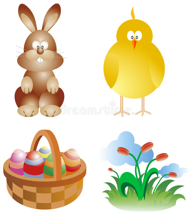 Easter cartoons. Easter traditional symbols set: bunny, chick and eggs