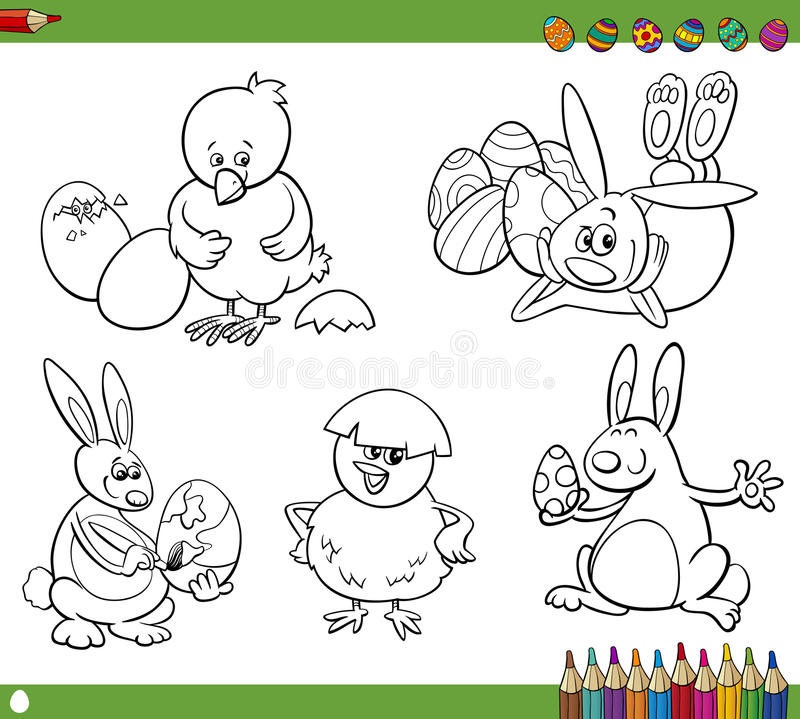 Easter cartoons coloring book vector illustration