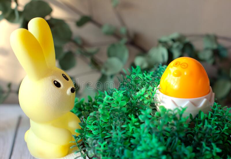 Easter celebration concept. toy bunny and chicken on grass. happy easter and spring project. Easter celebration concept. toy bunny and chicken in shell on grass stock image