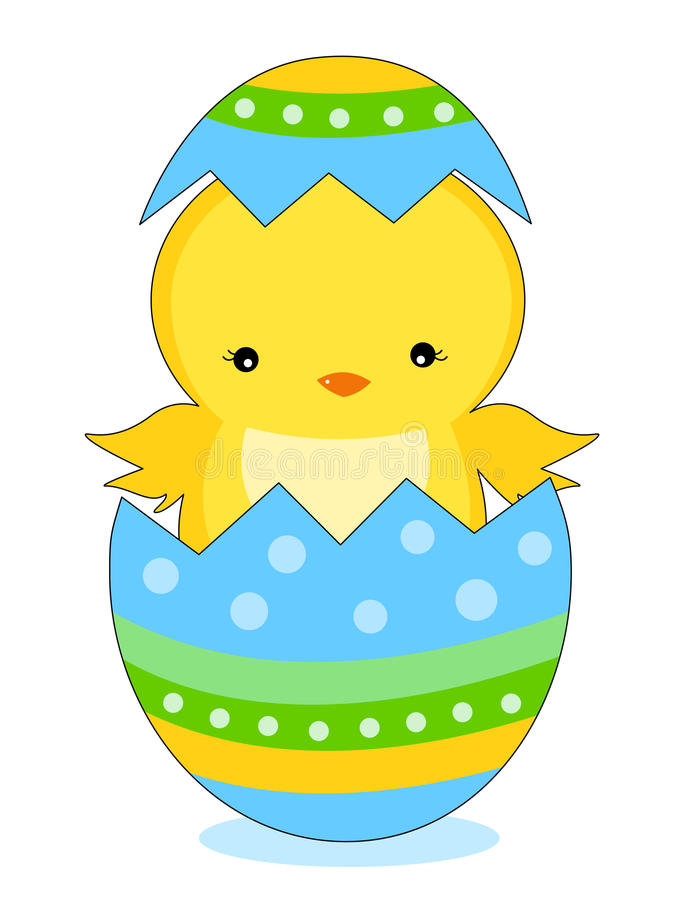 cute little easter chick coming out from a colorful easter egg illustration isolated on white background - Easter Chick