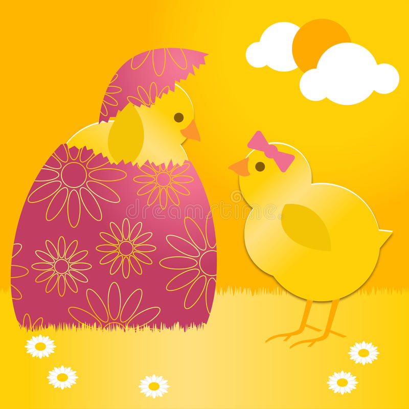 Download Easter chick in easter egg stock vector. Image of grass - 28783881