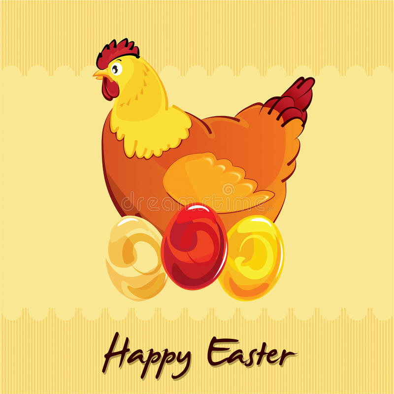 Easter chicken on eggs royalty free stock images