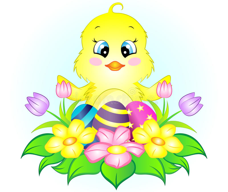 Easter Chicken with Eggs and Flowers vector illustration