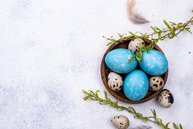 Easter eggs in blue color. Easter chicken and quail eggs in blue color royalty free stock photography