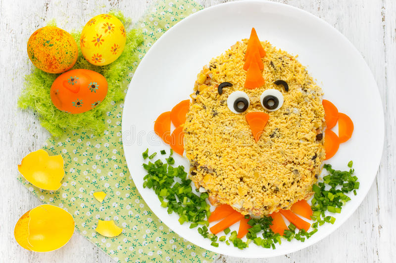 Easter chicken salad , cute yellow chick salad for children for royalty free stock image