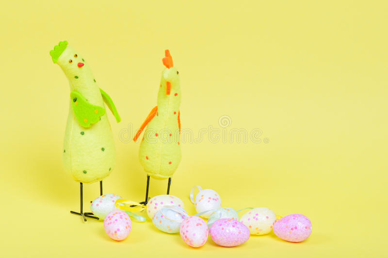 Easter chickens and eggs royalty free stock photography