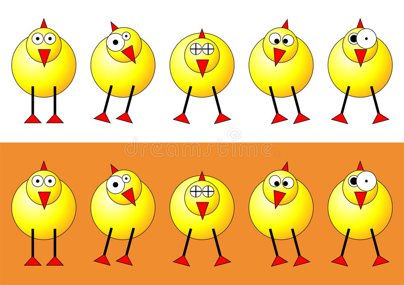Easter chicks. With different faces and positions over white and orange background