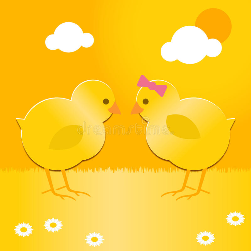 Easter chicks. A cute pair of spring chicks for easter royalty free illustration