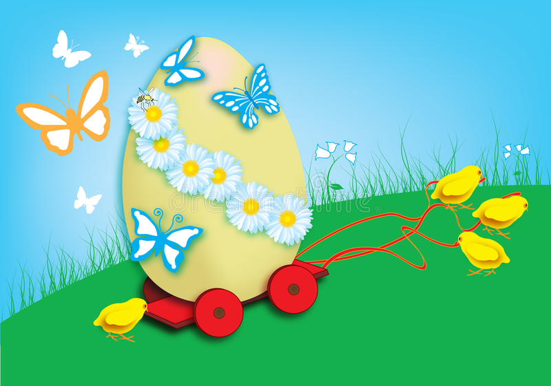 Download Easter Chicks And Painted Easter Eggs Stock Vector - Illustration: 29643010