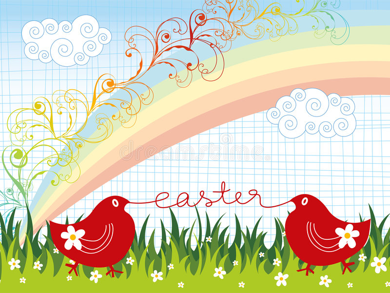 Easter chicks rainbow swirls royalty free stock images