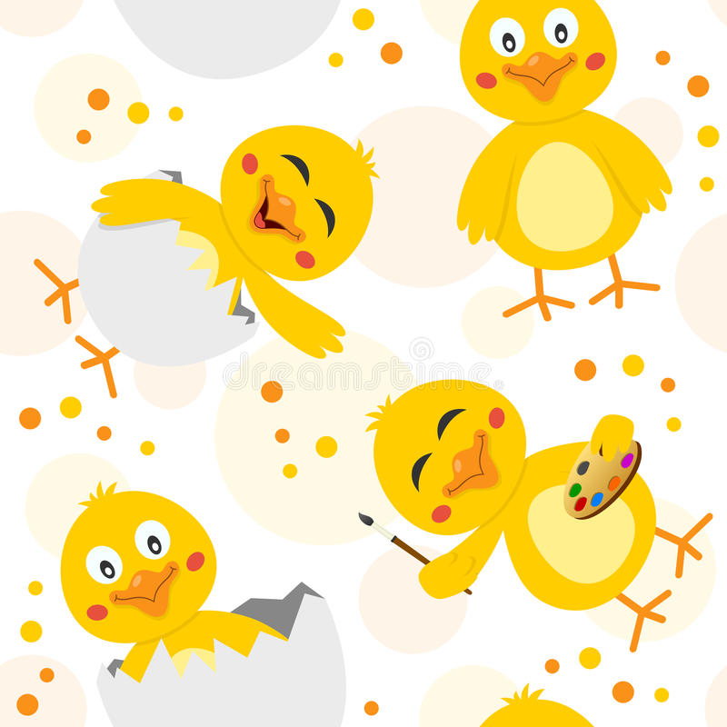 Easter Chicks Seamless Pattern. A seamless pattern with cute chicks in different positions and expressions, on white background. Useful also as design element royalty free illustration