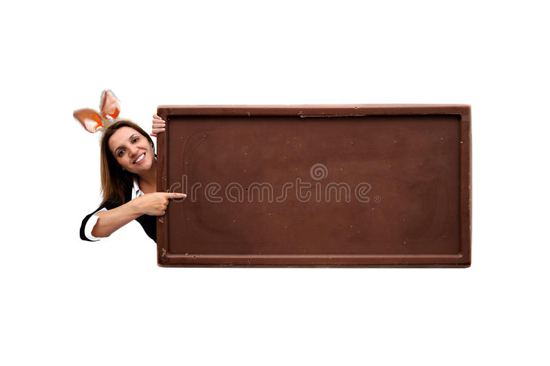 Easter Chocolate Board Message Stock Photo