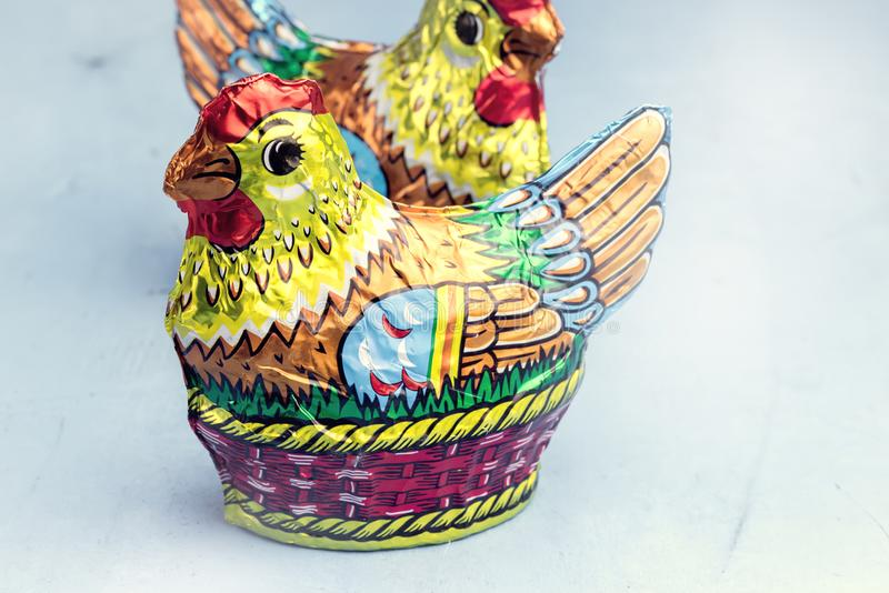 Easter Chocolate Chicken and Easter Eggs on Blue Background Festive Easter Concept Toned royalty free stock images