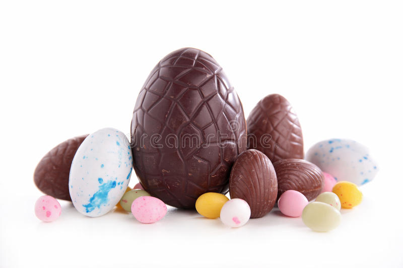 Easter chocolate eggs. Isolated on white royalty free stock image